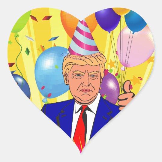 happy birthday trump heart sticker