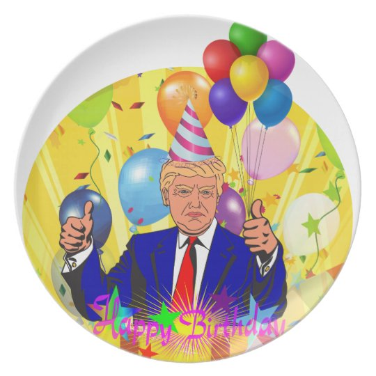happy birthday trump plate