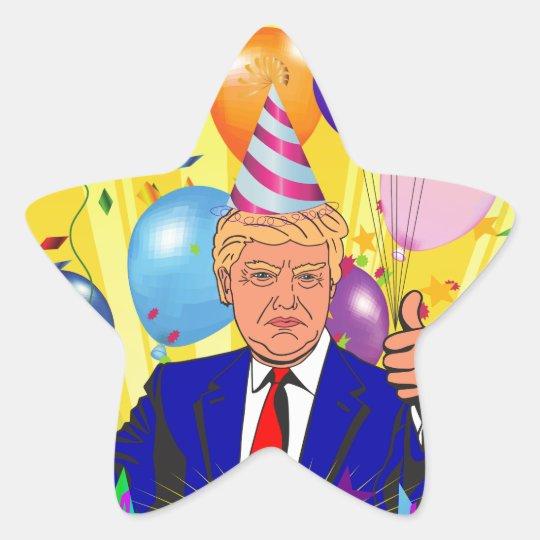 happy birthday trump star sticker