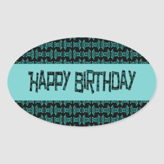 Happy Birthday Turquoise Happy Brithday Oval Sticker