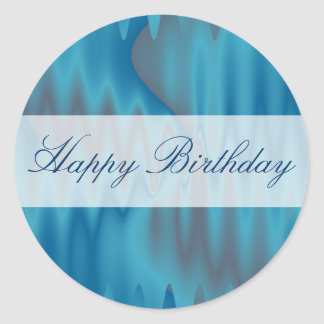 Happy Birthday turquoise satin Round Sticker