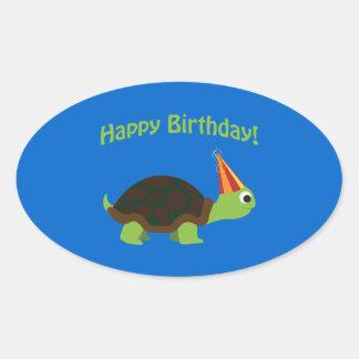 Happy Birthday! Turtle Oval Sticker