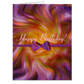Happy Birthday !  twisted purple ribbon card