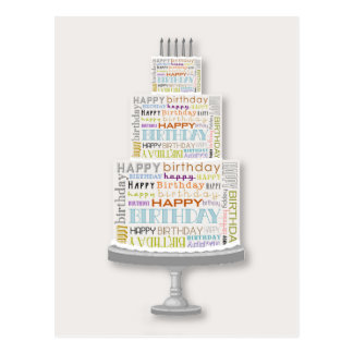 Happy Birthday Typography Cake Postcard