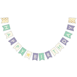 Happy Birthday Typography Faux Gold Dots & Stars Bunting