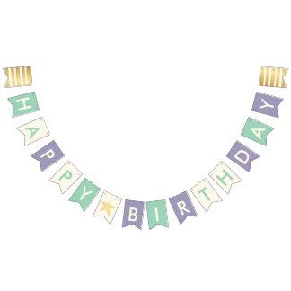 Happy Birthday Typography Faux Gold Stars & Stripe Bunting