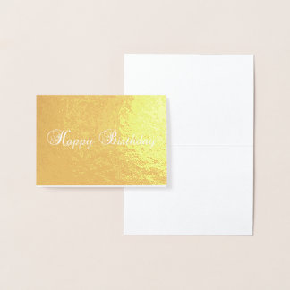 happy birthday typography Gold Foil Card