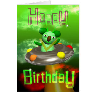 Happy Birthday UFO Koala by Valxart Card