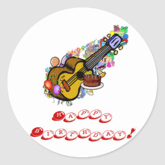 Happy Birthday Ukulele Stickers! Classic Round Sticker