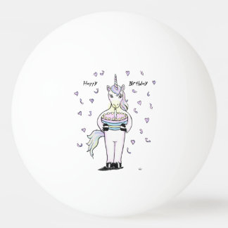 Happy Birthday Unicorn Ping Pong Ball