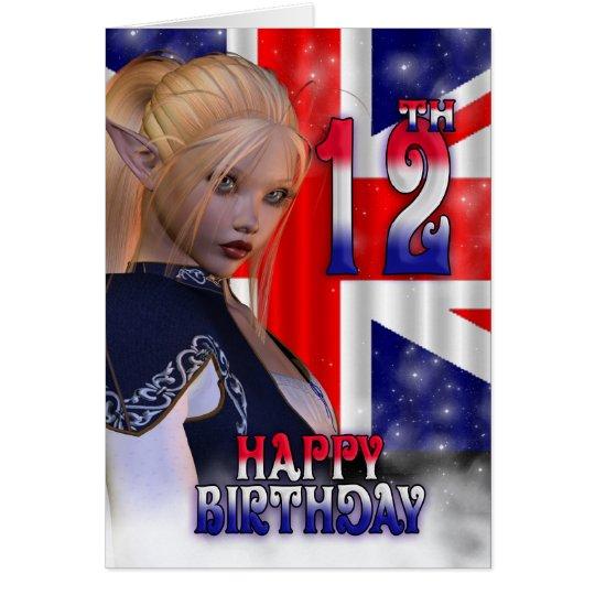 Happy Birthday Union Jack, Elf Card