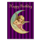 Happy Birthday - Vintage angel on a crescent moon Card