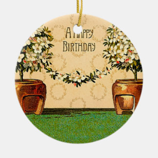 Happy Birthday Vintage Flowering Pots Ceramic Ornament