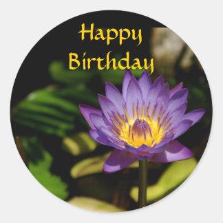 Happy Birthday, Water Lily Round Sticker