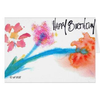Happy Birthday Watercolor / Flower Card