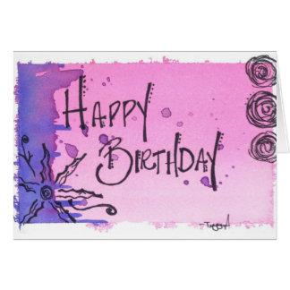 Happy Birthday Watercolor / Purple Card