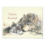 Happy Birthday Watercolor Wolf & Cub Animals 11 Cm X 14 Cm Invitation Card