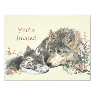 Happy Birthday Watercolor Wolf & Cub Animals Card