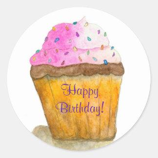 Happy Birthday Watercolors Pink Cupcake, Sprinkles Round Sticker