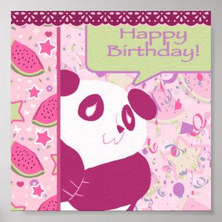 Happy Birthday Watermelon Pink Panda Print