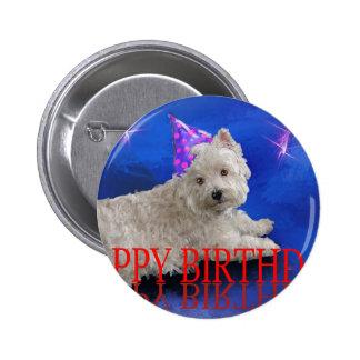 Happy Birthday Westie 6 Cm Round Badge