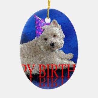 Happy Birthday Westie Ceramic Ornament