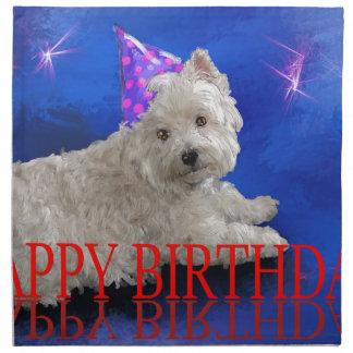 Happy Birthday Westie Cloth Napkins
