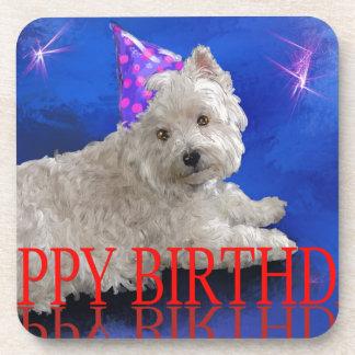 Happy Birthday Westie Coaster