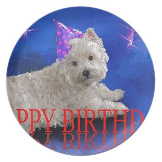 Happy Birthday Westie Plate
