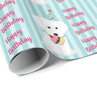 Happy Birthday White Dog Wrapping Paper
