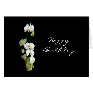 Happy Birthday White Orchids Card