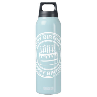 Happy Birthday -white rubber stamp effect- 0.5 Litre Insulated SIGG Thermos Water Bottle