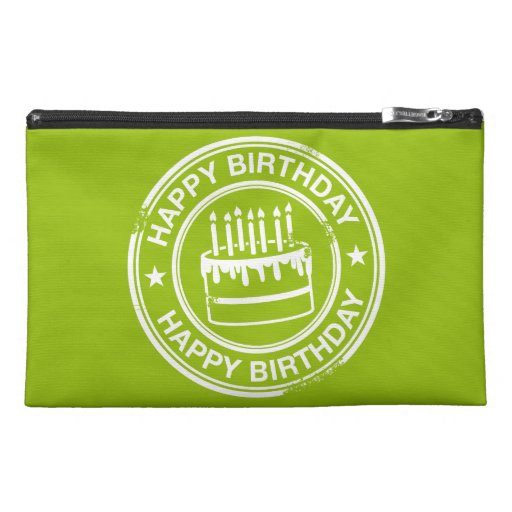 Happy Birthday -white rubber stamp effect- Travel Accessories Bag