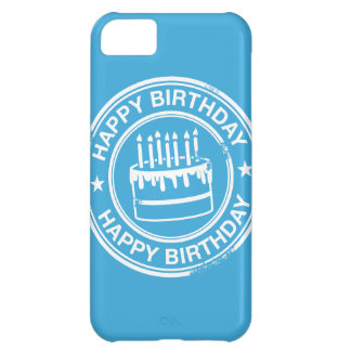 Happy Birthday -white rubber stamp effect- iPhone 5C Covers