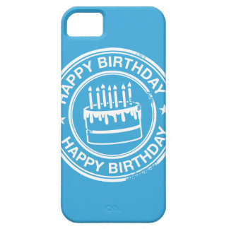 Happy Birthday -white rubber stamp effect- Case For The iPhone 5