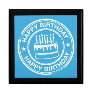 Happy Birthday -white rubber stamp effect- Large Square Gift Box