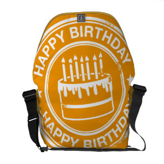 Happy Birthday -white rubber stamp effect- Messenger Bags