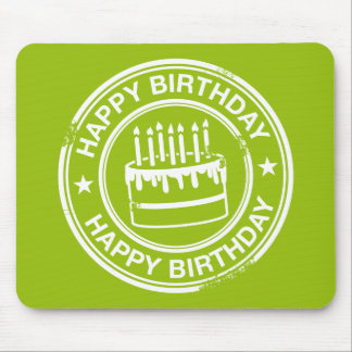 Happy Birthday -white rubber stamp effect- Mouse Pad