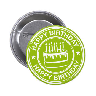 Happy Birthday -white rubber stamp effect- Pin