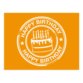 Happy Birthday -white rubber stamp effect- Postcard