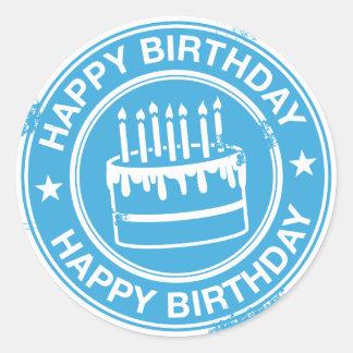 Happy Birthday -white rubber stamp effect- Round Sticker