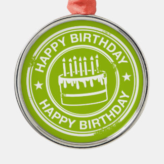 Happy Birthday -white rubber stamp effect- Silver-Colored Round Decoration