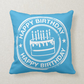 Happy Birthday -white rubber stamp effect- Throw Pillow