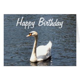 Happy Birthday white swan Card