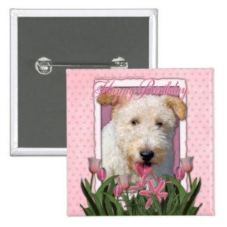Happy Birthday - Wire Fox Terrier - Hailey Pinback Buttons