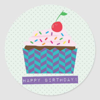 Happy Birthday with a cherry on top Round Stickers