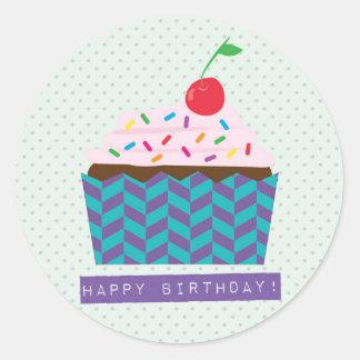 Happy Birthday with a cherry on top Round Sticker