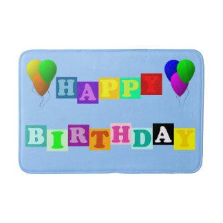 Happy Birthday With Balloons Bath Mat