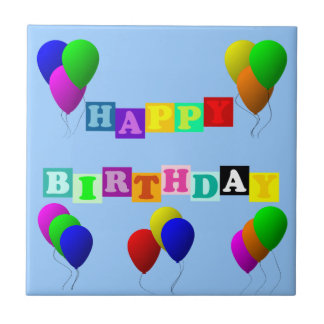 Happy Birthday With Balloons Small Square Tile