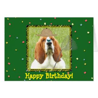 """Happy Birthday"" with Basset Hound as hunter Card"